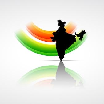 Векторный индийский флаг с картой индии