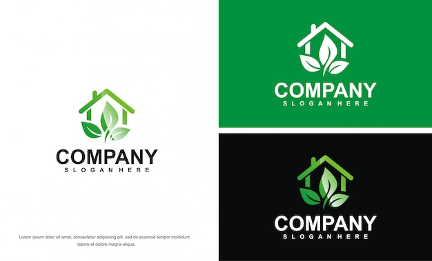 Логотип современного зеленого дома