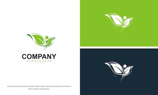 シンプルでエレガントな葉の感動的なロゴ