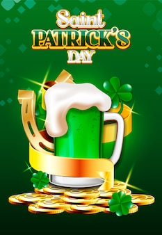 Дизайн плаката к пиву и золотой ленте святого патрика