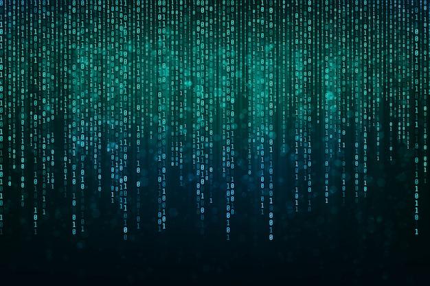 抽象的なテクノロジーバイナリコードバイナリデータを含む背景は、画面の上部から落ちます。デジタルバイナリデータとセキュアデータの概念