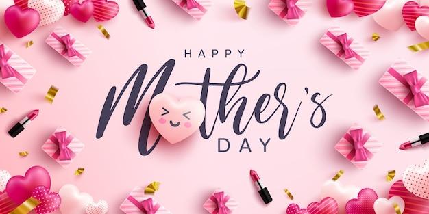 День матери плакат или баннер со сладкими сердцами и розовой подарочной коробке на розовом фоне. продвижение и покупки шаблон или фон для концепции любви и день матери