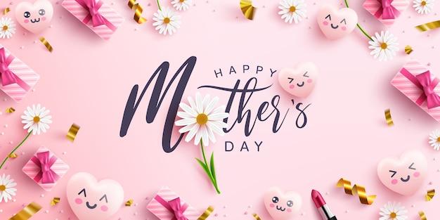 母の日のポスターまたは甘いハート、ピンクの背景に花とピンクのギフトボックスとバナー。プロモーションとショッピングテンプレートまたは愛と母の日の概念の背景