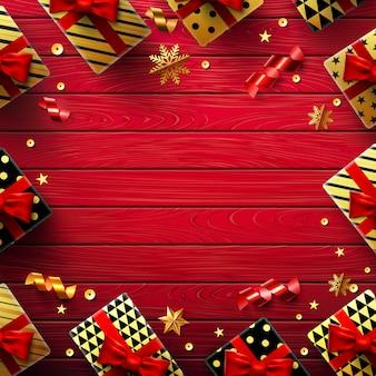 ヴィンテージの赤い木製の背景を持つクリスマスまたは新年の背景