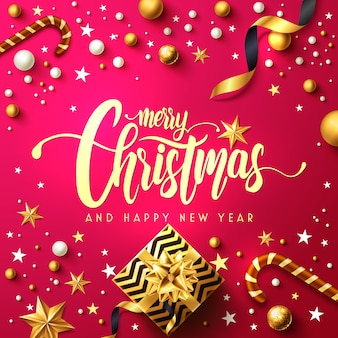 メリークリスマスと幸せな新年のポスターとギフトボックス