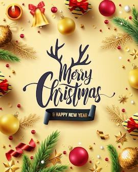 メリークリスマスと幸せな新年の黄金