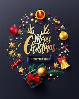 メリークリスマスと幸せな新年のカード