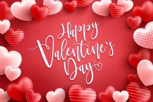 バレンタインのポスターまたはバナー多くの甘い心と赤。プロモーションとショッピングのテンプレートまたは愛とバレンタインの日