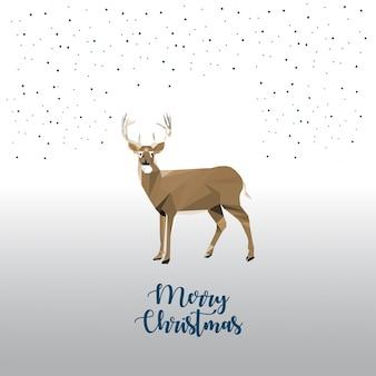 低ポリ鹿のクリスマスの挨拶