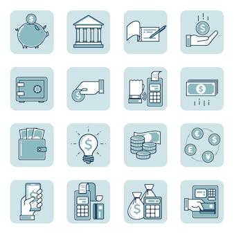 金融と銀行の線形アイコンのセット