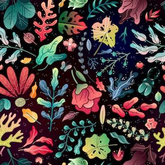 春夏の装飾的なシームレスパターン。シームレスパターンの明るい花の枝と黒の背景の葉