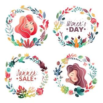 バナーやカードの春夏の装飾的な花輪のセットです。サマーセール。女性の日