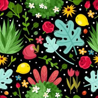 花の庭のシームレスなパターン。シームレスパターンの明るい花の枝と黒の背景の葉