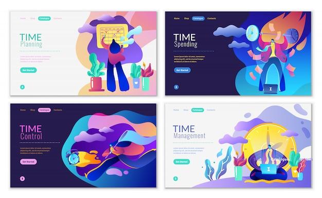 Современный плоский сайт набор управления временем, финансового менеджмента и бизнеса.