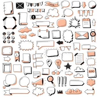 弾丸ジャーナル落書きバナーセット。手描き落書き弾丸ジャーナルバナーとノート、日記、プランナーの要素