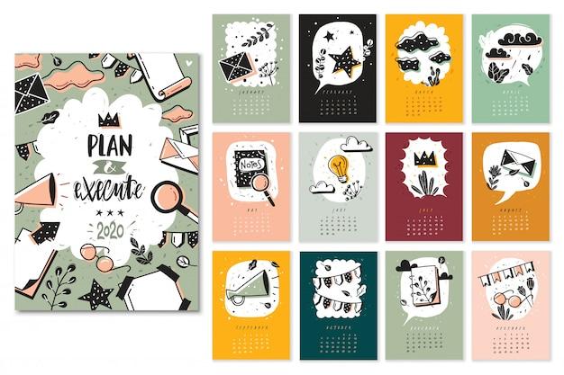 Пуля журнал каракули набор календарных месяцев. новый год шаблон календаря с пулей каракулей элементов журнала и цветов. страницы всех месяцев, обложка