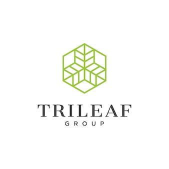 Штриховой логотип с тремя листьями