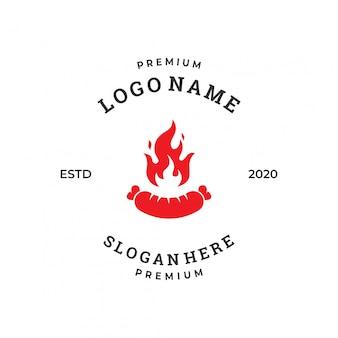 Шаблон дизайна логотипа колбаса гриль