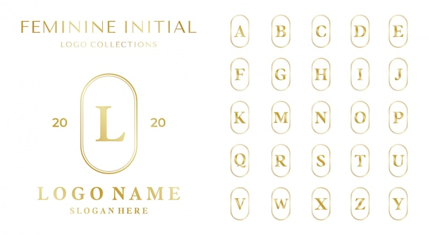 アルファベットのテンプレートを持つ女性的なロゴのコンセプトのセット。