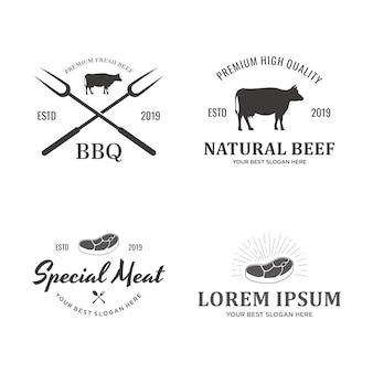 牛肉のロゴのセット