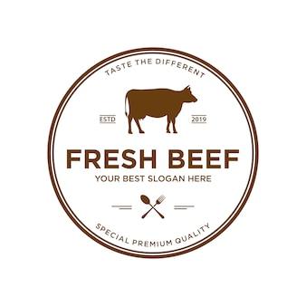 牛肉のロゴデザインのインスピレーション、バッジとビンテージスタイル