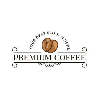 Премиум кофе логотип в винтажном стиле
