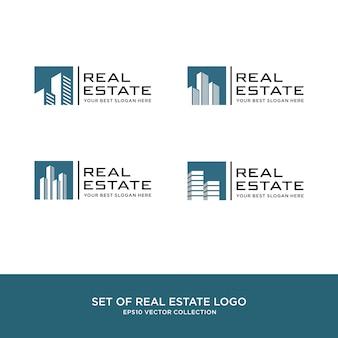 不動産ロゴ、建築および建設のセット