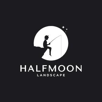 Наружное вдохновение дизайна логотипа с элементом рыбалки луны и мальчика,