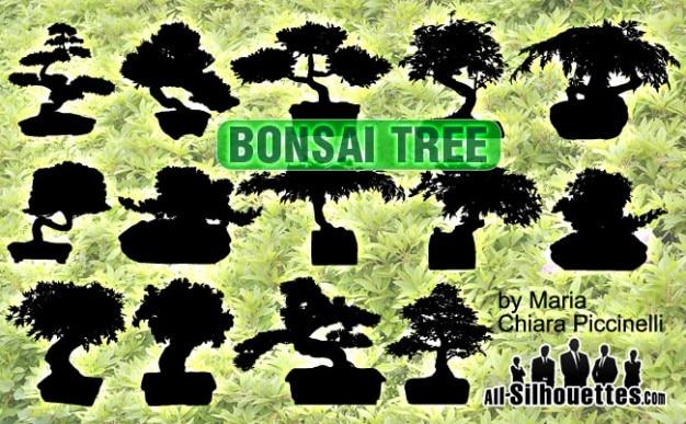 Вектор силуэты деревьев бонсай