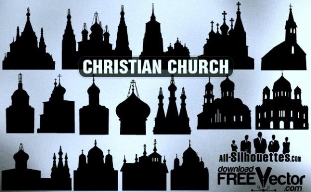 ベクトル、キリスト教の教会すべてのシルエット