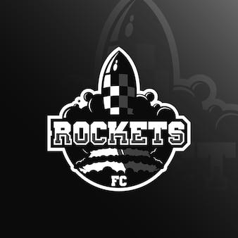 Талисман дизайна логотипа ракеты с современным стилем понятия иллюстрации для печати значка, эмблемы и футболки.