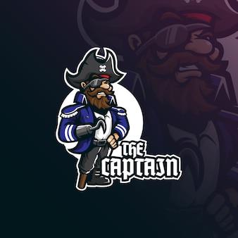 バッジ、エンブレムのモダンなイラストコンセプトスタイルでキャプテン海賊マスコットロゴデザイン