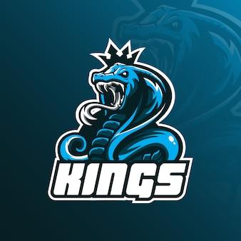 Дизайн логотипа талисмана короля кобры с современным стилем иллюстрации концепции для значка, эмблемы