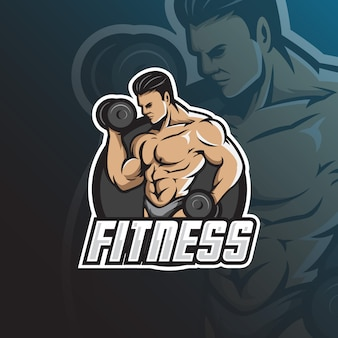 Фитнес талисман логотип с современной иллюстрацией