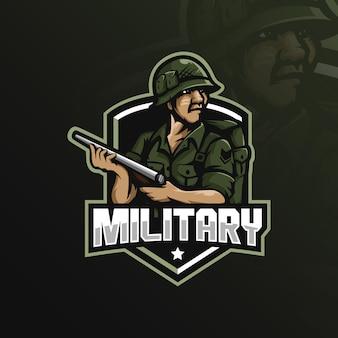 Военный дизайн логотипа талисмана с современным стилем иллюстрации концепции для значка, эмблемы