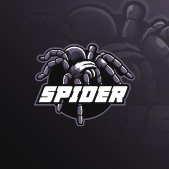 Дизайн логотипа талисмана паука с современным стилем концепции иллюстрации для значка, эмблемы