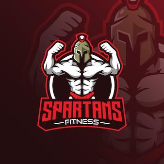 Вектор логотипа талисмана фитнеса с современным стилем концепции иллюстрации для печати значка, эмблемы и футболки.