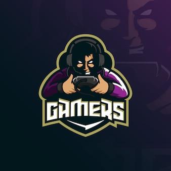 Дизайн логотипа талисмана геймера с современным стилем понятия иллюстрации для печати значка, эмблемы и футболки.