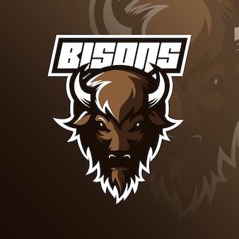 Талисман логотипа бизона с современной иллюстрацией
