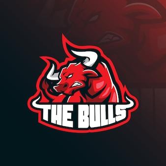 牛のマスコットのロゴ