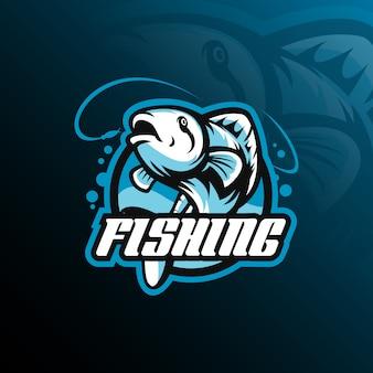 モダンなイラストと魚のマスコットロゴデザインのベクトル