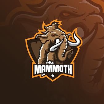 Вектор дизайна логотипа талисмана слона мамонта с современной иллюстрацией
