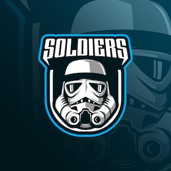 モダンなイラストと兵士のマスコットのロゴデザインのベクトル