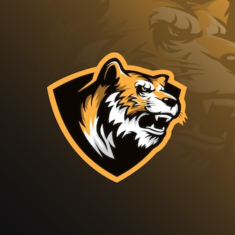 Тигр талисман логотип дизайн вектор с современной иллюстрацией