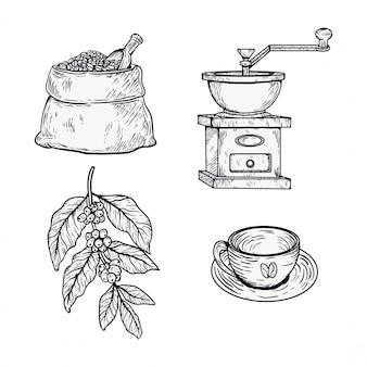 Набор рисованной кофе