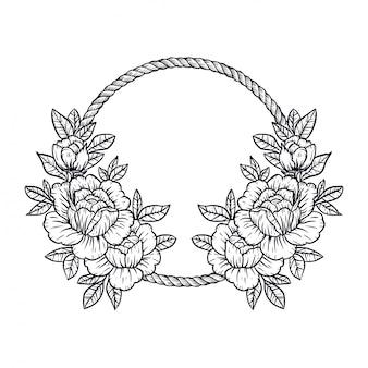 花フレームベクトルイラスト