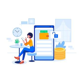 Концепция иллюстрации обслуживания онлайн-банкинга