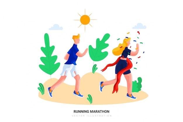 Бегущий марафон векторная иллюстрация