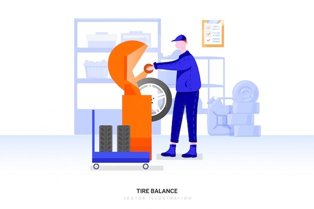 Рабочий балансирует шину. сборка шин