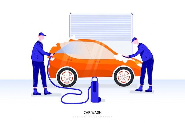 Рабочие мужчины моют машину на автостанции